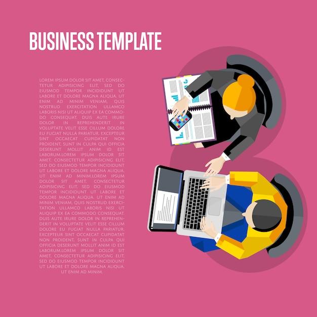 Modèle d'affaires. vue de dessus de l'espace de travail Vecteur Premium