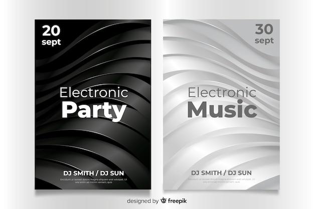 Modèle d'affiche 3d abstrait de musique électronique Vecteur gratuit
