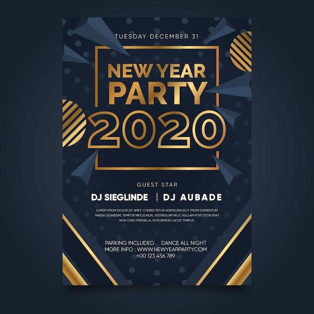Modèle d'affiche abstrait parti nouvel an 2020 Vecteur gratuit