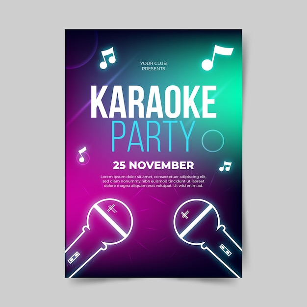 Modèle D'affiche Abstraite Karaoké Vecteur gratuit