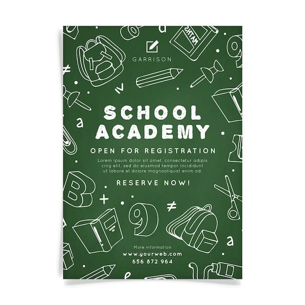 Modèle D'affiche De L'académie Scolaire Vecteur Premium