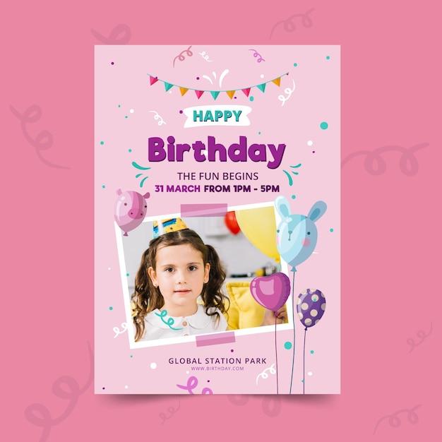 Modèle D'affiche D'anniversaire Pour Enfants Vecteur gratuit