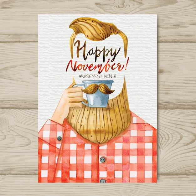 Modèle d'affiche aquarelle movember moustache avec hipster, boire du café Vecteur gratuit