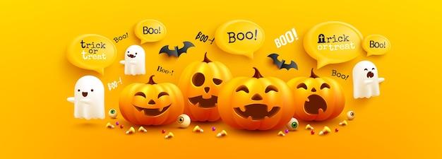 Modèle D'affiche Et De Bannière Happy Halloween Avec Citrouille D'halloween Mignon, Fantômes Blancs Effrayants Et Chauves-souris Sur Fond Jaune. Site Web Effrayant, Vecteur Premium