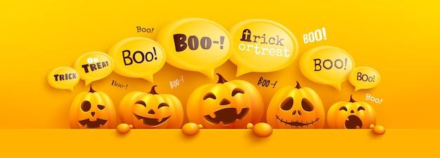 Modèle D'affiche Et De Bannière Happy Halloween Avec Citrouille D'halloween Mignon Et Message De Bulle Jaune Sur Le Dessus. Site Web Effrayant, Vecteur Premium