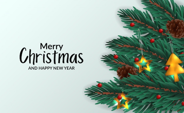 Modèle D'affiche De Bannière De Noël Avec Illustration De Guirlande De Feuilles De Sapin Avec Décoration Vecteur Premium