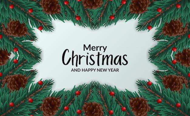 Modèle D'affiche Bannière De Noël Avec Illustration De Sapin Cadre Laisse La Guirlande Avec Pomme De Pin Vecteur Premium