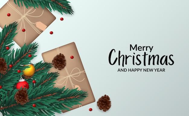 Modèle D'affiche Bannière De Noël Avec Illustration De Sapin Feuilles Guirlande Avec Vue De Dessus De Décoration Vecteur Premium