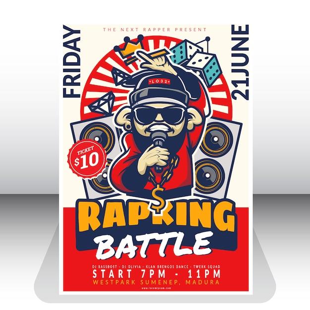 Modèle d'affiche de bataille de rap Vecteur Premium