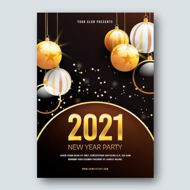 Modèle D'affiche De Boules De Noël Nouvel An 2021 Vecteur gratuit