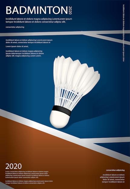 Modèle D'affiche De Championnat De Badminton Vecteur gratuit