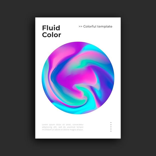 Modèle D'affiche Colorée Avec Effet Fluide Vecteur gratuit