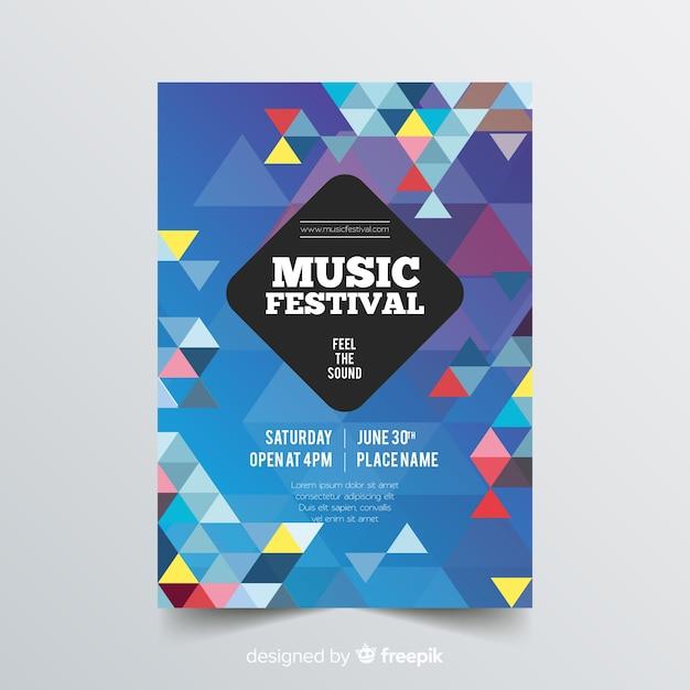 Modèle d'affiche colorée musique géométrique Vecteur gratuit
