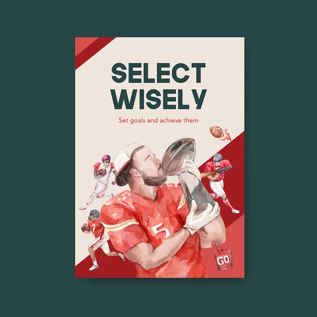 Modèle D'affiche Avec Conception De Concept De Sport De Super Bol Pour Brochure Et Publicité Illustration Vectorielle Aquarelle. Vecteur gratuit
