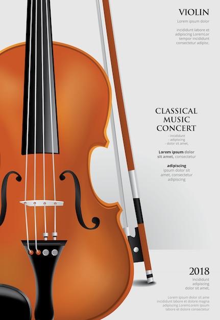 Modèle d'affiche de concert de musique classique avec violon Vecteur Premium