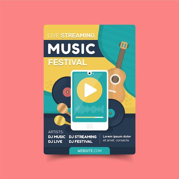 Modèle D'affiche De Concert De Musique En Streaming En Direct Vecteur gratuit