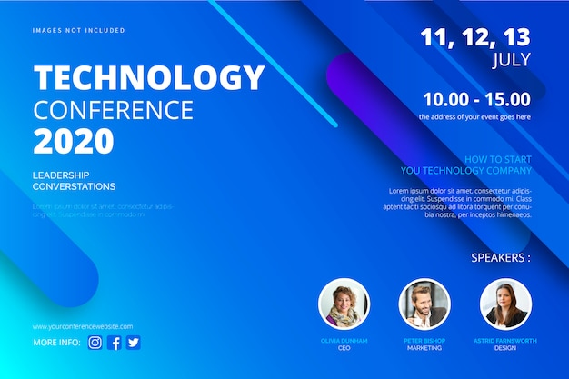 Modèle D'affiche De Conférence Technologique Vecteur gratuit