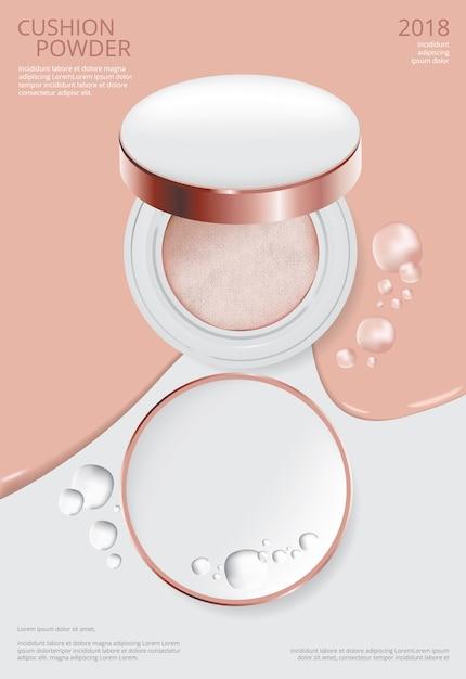 Modèle d'affiche de coussin de maquillage en poudre illustration vectorielle Vecteur Premium