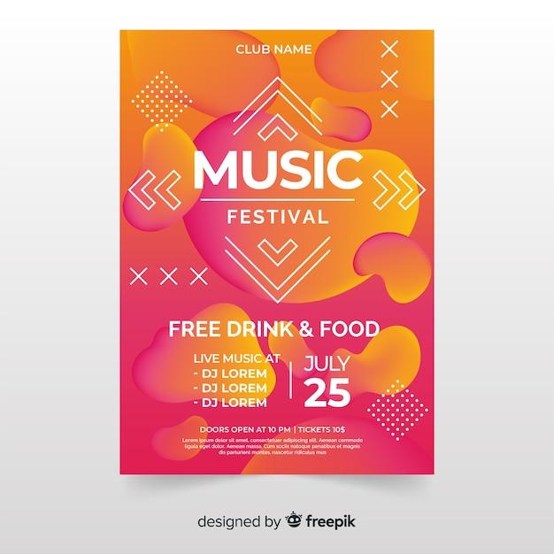 Modèle d'affiche ou de dépliant de festival de musique sur un design moderne abstrait Vecteur gratuit