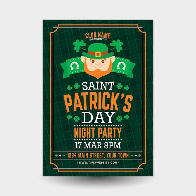Modèle D'affiche Design Plat St Patricks Day Vecteur gratuit