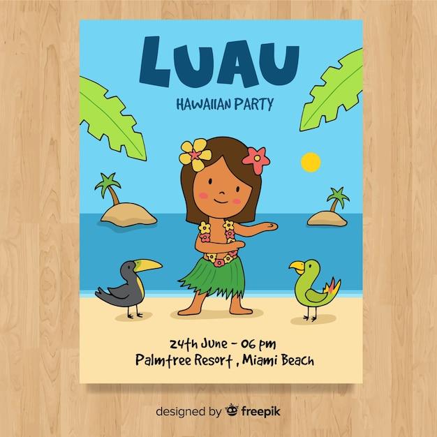 Modèle d'affiche de dessin animé hula danseuse luau Vecteur gratuit