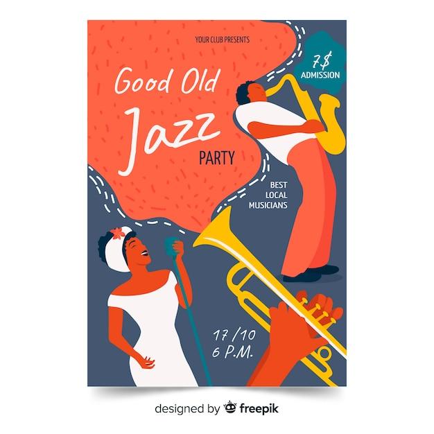 Modèle d'affiche dessiné main musique jazz Vecteur gratuit