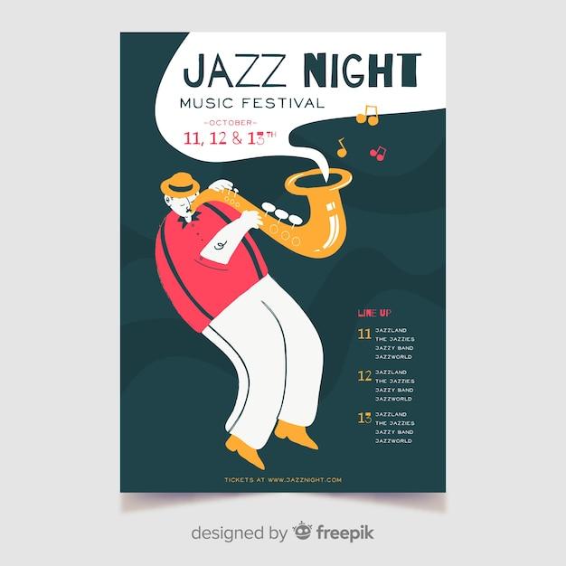 Modèle d'affiche dessiné à la main nuit jazz musique Vecteur gratuit