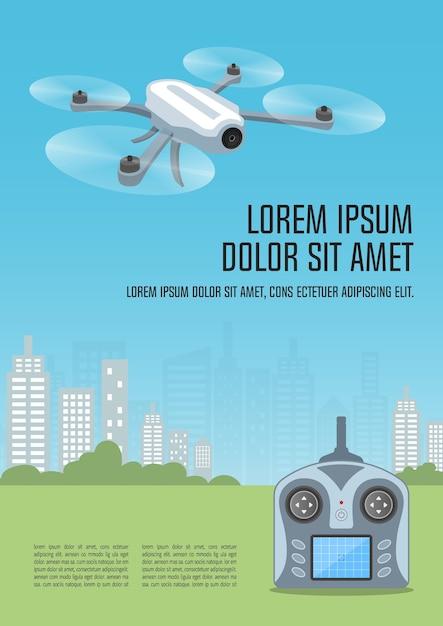 Modèle d'affiche drone ou quadrocopter. Vecteur Premium