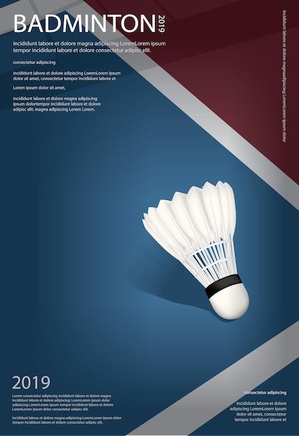 Modèle d'affiche du championnat de badminton Vecteur Premium