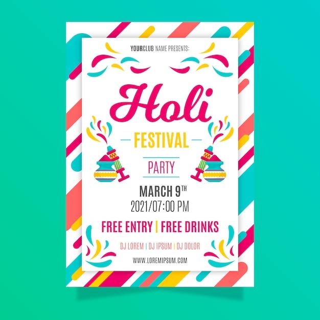 Modèle D'affiche Du Festival Holi Au Design Plat Vecteur gratuit