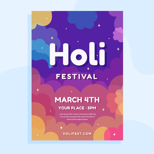 Modèle D'affiche Du Festival Holi Vecteur gratuit