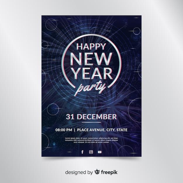 Modèle affiche du parti nouvel an 2020 avec photo Vecteur gratuit