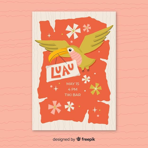 Modèle d'affiche du parti tucan luau Vecteur gratuit