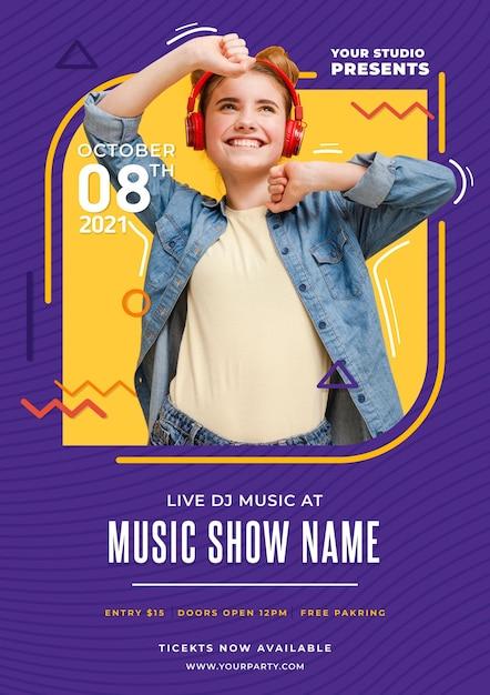Modèle D'affiche D'événement Musical Vecteur gratuit