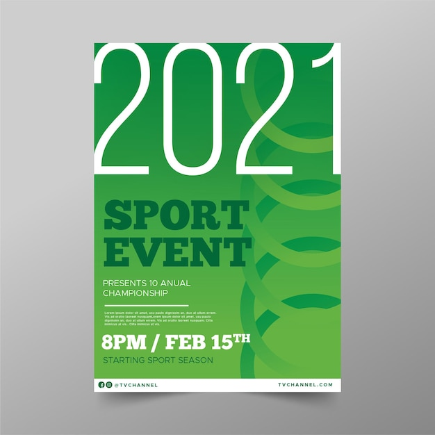 Modèle D'affiche D'événement Sportif Cercles Verts Vecteur gratuit