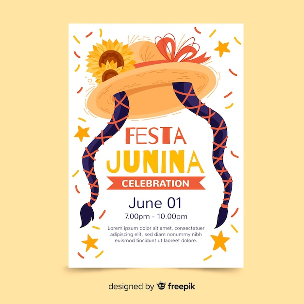 Modèle d'affiche festa junina dessiné à la main Vecteur gratuit