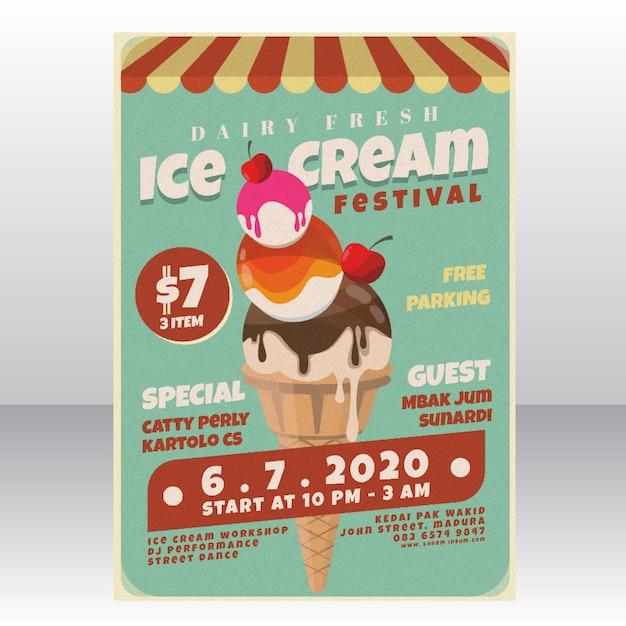 Modèle d'affiche de festival de crème glacée Vecteur Premium