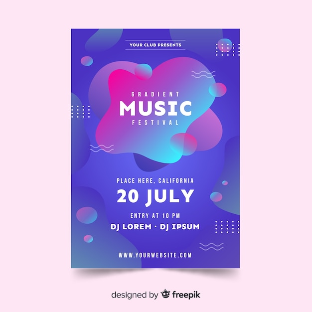 Modèle d'affiche de festival de musique abstrait effet liquide Vecteur gratuit