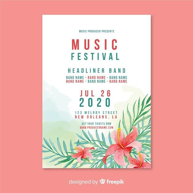 Modèle d'affiche de festival de musique aquarelle Vecteur gratuit