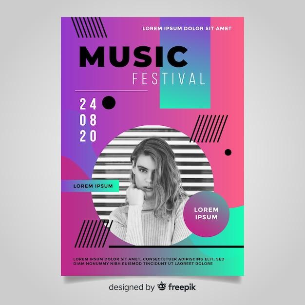 Modèle d'affiche festival musique dégradé Vecteur gratuit