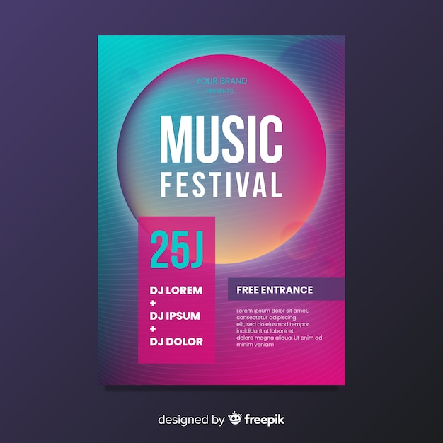Modèle d'affiche de festival de musique dégradé Vecteur gratuit