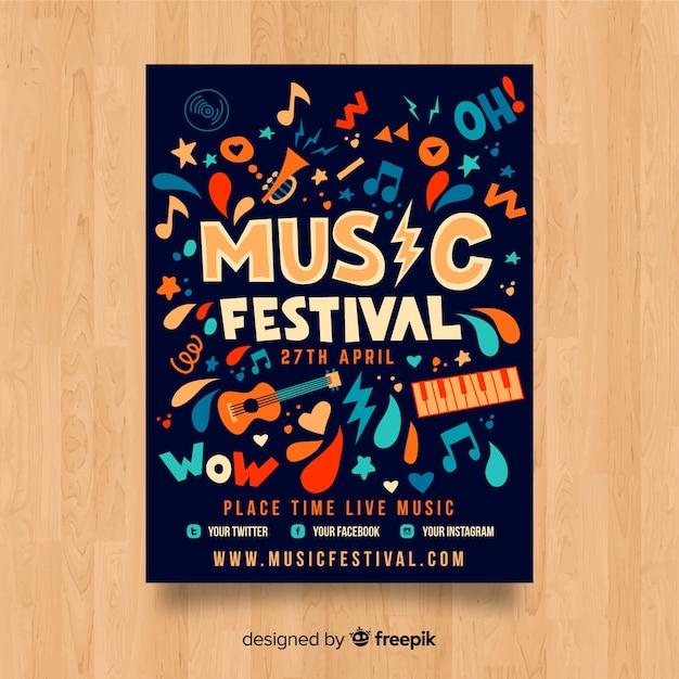 Modèle d'affiche de festival de musique dessiné à la main Vecteur gratuit