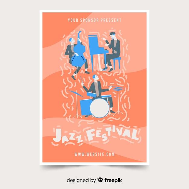 Modèle d'affiche de festival de musique dessinés à la main Vecteur gratuit