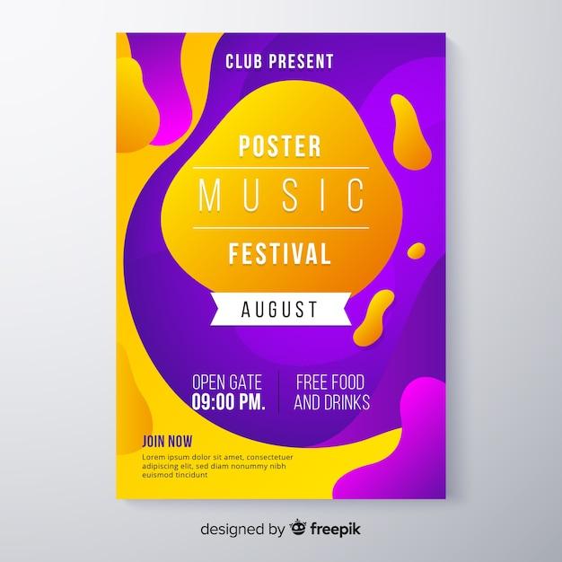 Modèle d'affiche de festival de musique avec effet liquide Vecteur gratuit