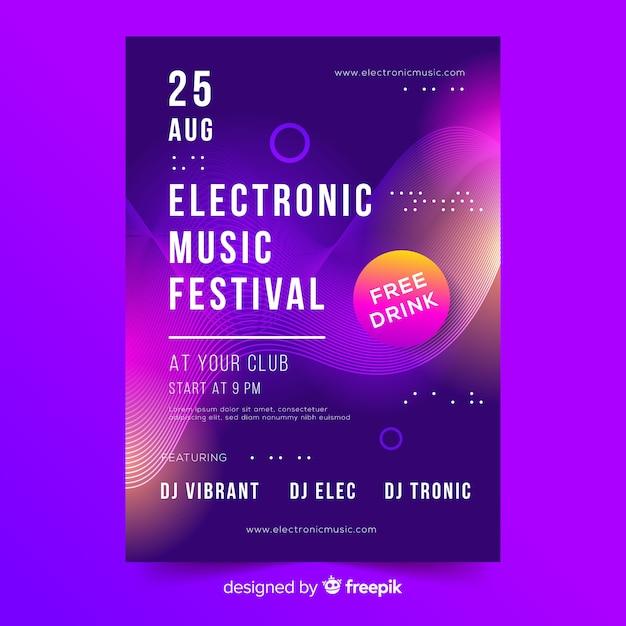 Modèle d'affiche de festival de musique électronique Vecteur gratuit