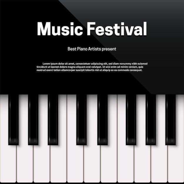 Modèle D'affiche De Festival De Musique Avec Espace De Texte Vecteur Premium