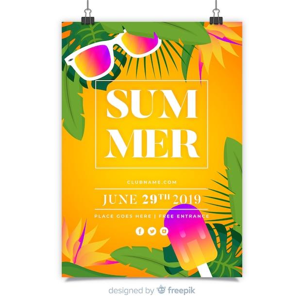 Modèle d'affiche de festival de musique d'été Vecteur gratuit