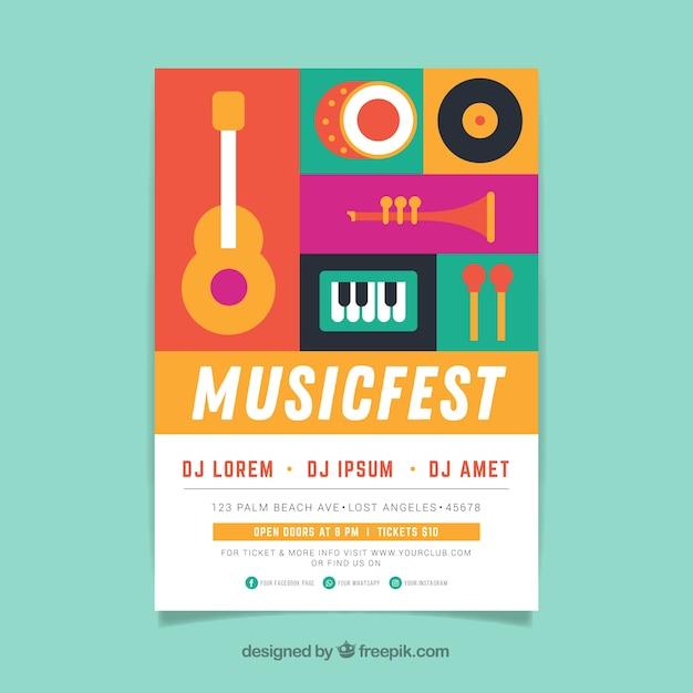 Modèle d'affiche de festival de musique avec des instruments de musique Vecteur gratuit