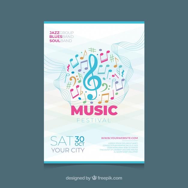 Modèle d'affiche de festival de musique avec des notes colorées Vecteur gratuit