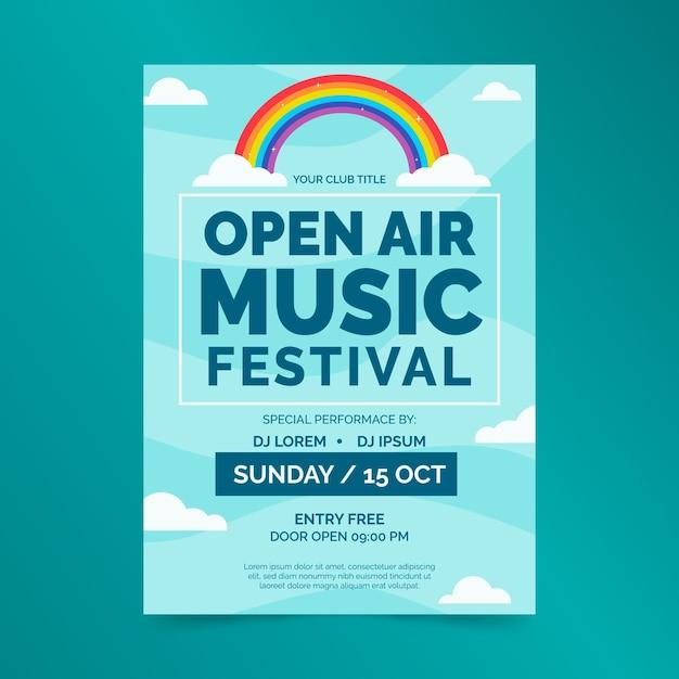 Modèle D'affiche De Festival De Musique En Plein Air Vecteur gratuit
